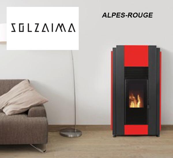 Poêle à granulés 8kW ALPES (rouge) - SOLZAIMA, à la boutique Poêles et Cheminées du Girou, à Lavalette, près de Toulouse