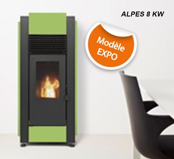 Poêle à granulés SOLZAIMA - ALPES vert 8 kW, en exposition à Toulouse (Poêles et Cheminées du Girou, Lavalette)