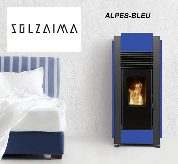 Poêle à granulés SOLZAIMA - ALPES bleu 9,6 kW, à Toulouse (Poêles et Cheminées du Girou)