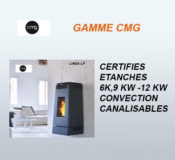 Poêles à granulés (pellets) CMG Linéa LP- Certifiés étanches 6kW, 9kW 12kW vendus à Toulouse par Poêles et Cheminées du Girou