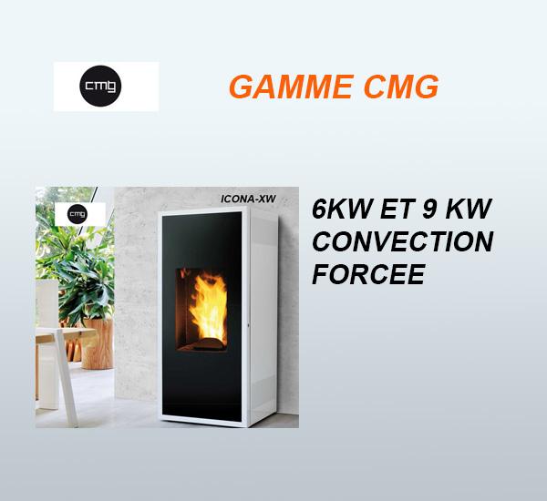 Poêles à granulés (pellets) CMG Icona XW - Convection forcée 6kW, 9kW vendus à Toulouse par Poêles et Cheminées du Girou