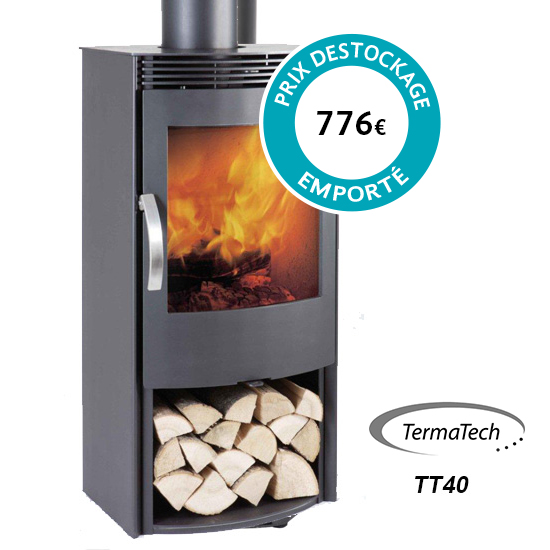 Poêle à bois pas cher Termatech - Modèle TT40 à Toulouse. Puissance nominale : 6 kw. Prix destockage (à retirer sur place) : 776€