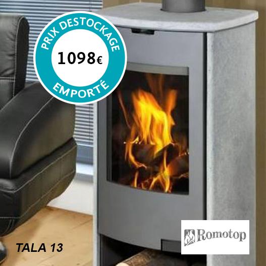 Poêle à bois Romotop - Modèle Tala 13 Puissance nominale : 8 kw Prix soldé (à retirer sur place) : 1098€