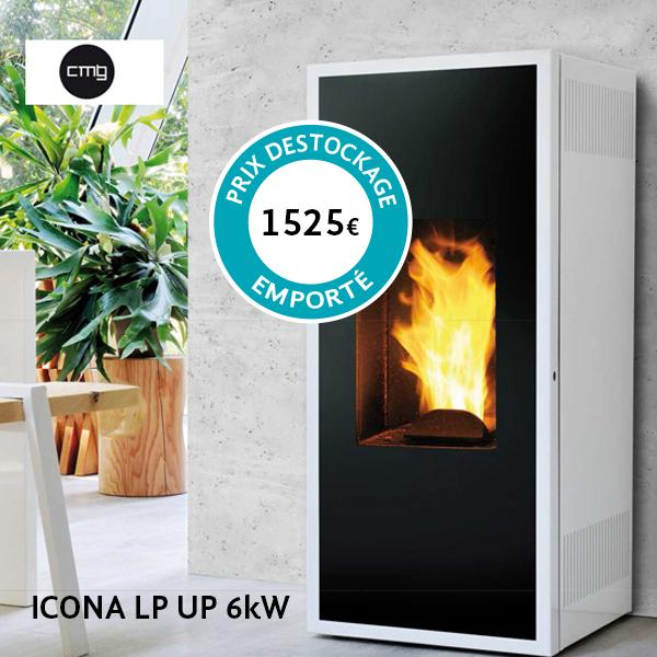 Poêle à granulés CMG – Modèle Icona LP Puissance nominale : 6 kW Prix destockage (à retirer sur place) : 1525€