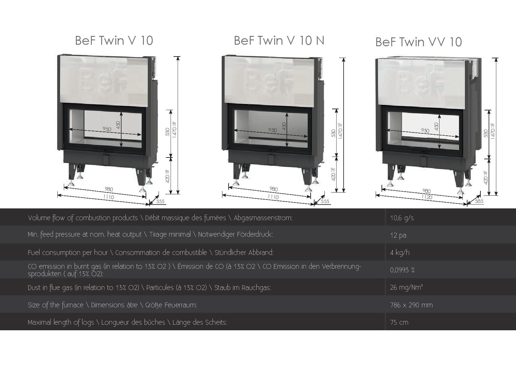 Foyers à bois Double face Bef HOME 14 kw vitre(s) relevable(s)