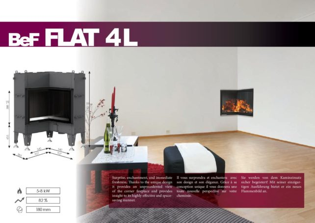 Foyers à bois FLAT BeF HOME 5/8 kw vitre d'angle rentrant