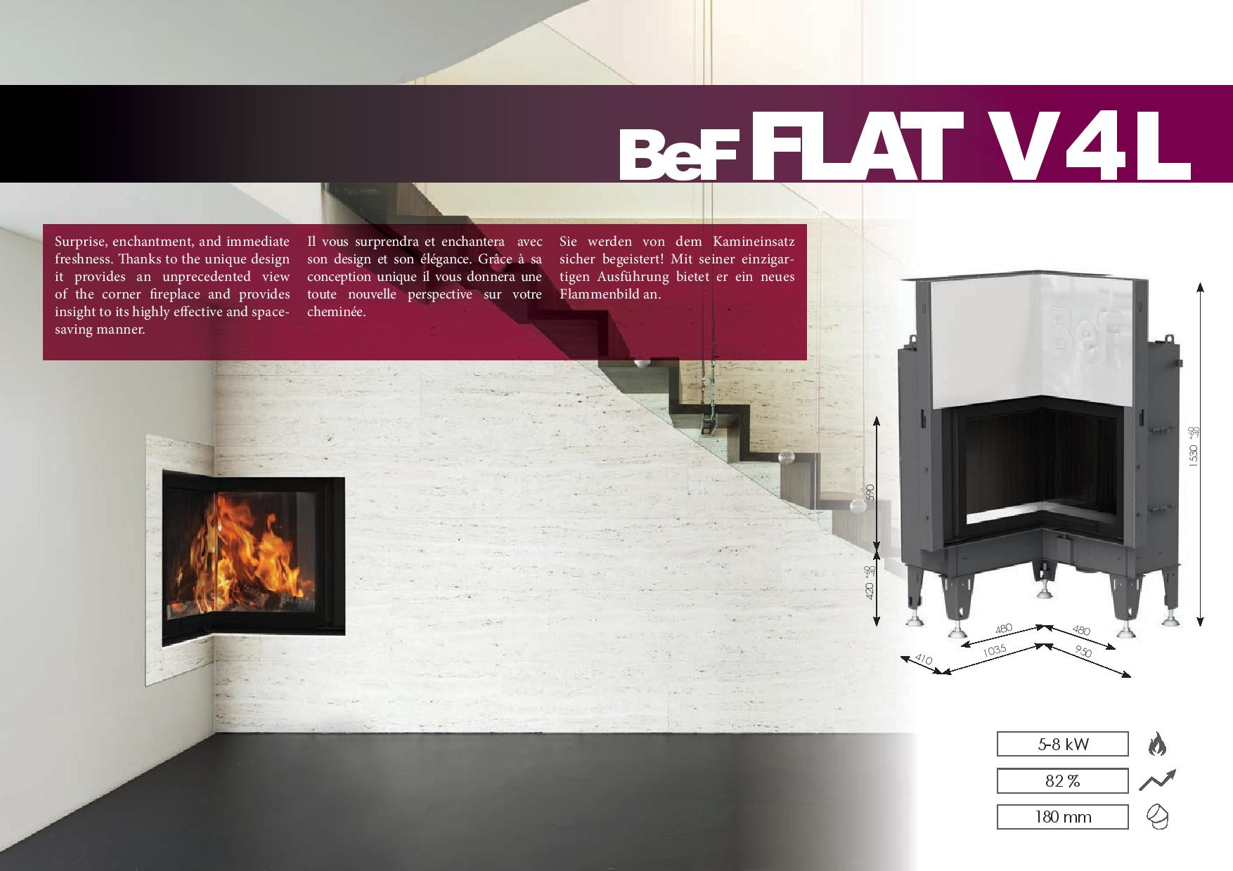 Foyers à bois FLAT BeF HOME 5/8 kw vitre d'angle rentrant relevable