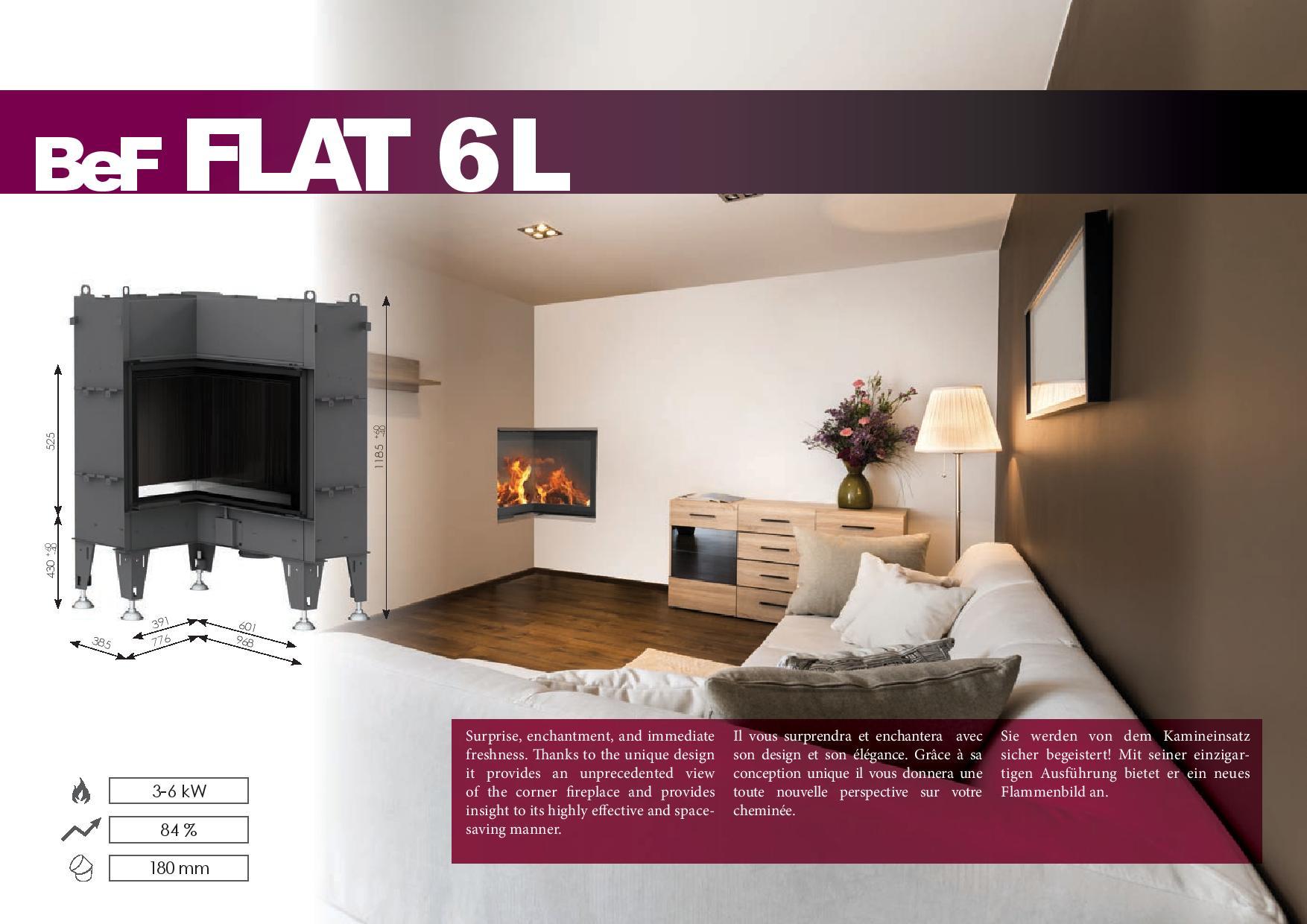 Foyers à bois FLAT BeF HOME 6 kw vitre d'angle rentrant