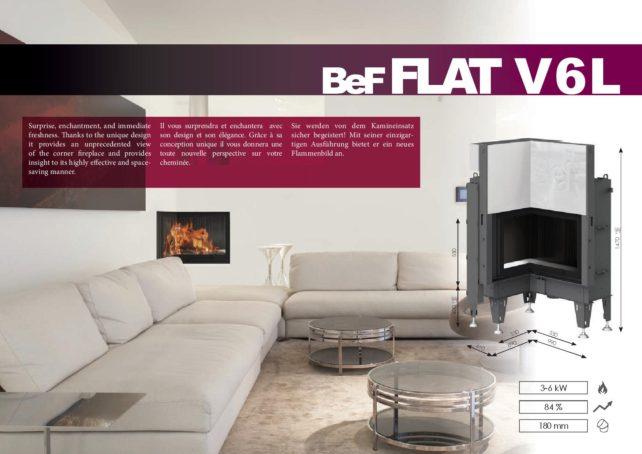 Foyers à bois FLAT BeF HOME 6 kw vitre d'angle rentrant relevable