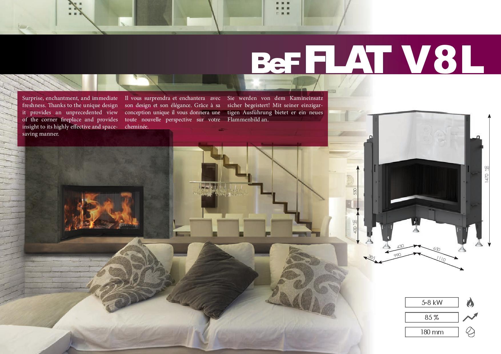 Foyers à bois FLAT BeF HOME 8 kw vitre d'angle rentrant relevable