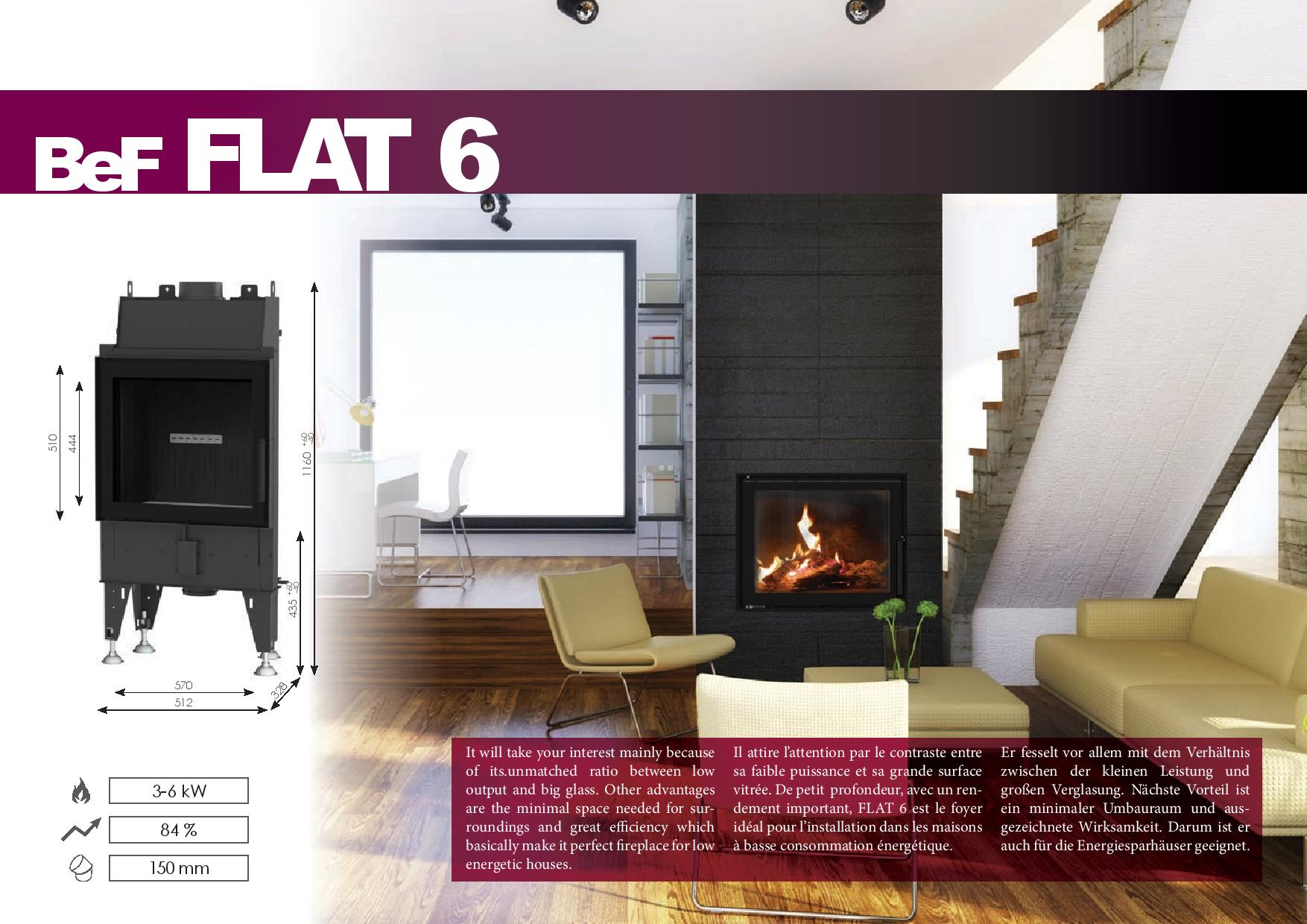 Foyers à bois FLAT BeF HOME 6 kw