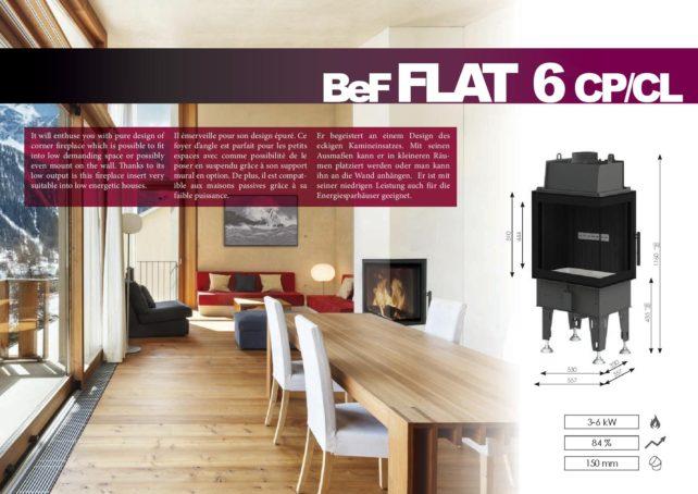 Foyers à bois FLAT BeF HOME 6 kw vitre d'angle