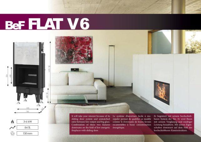 Foyers à bois FLAT BeF HOME 6 kw vitre relevable