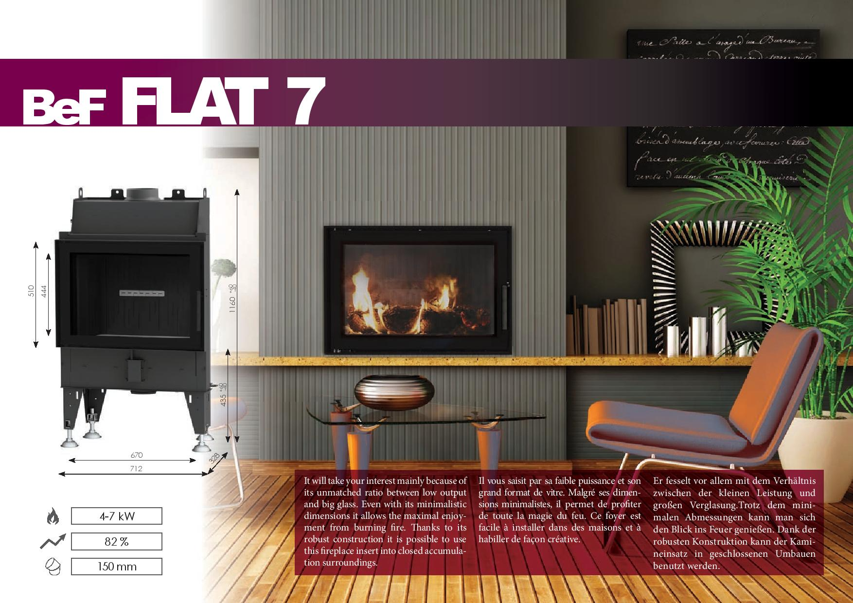 Foyers à bois FLAT BeF HOME 7 kw