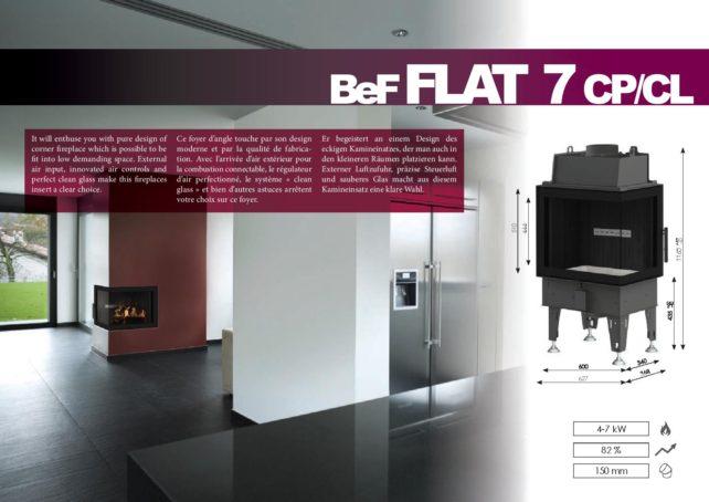 Foyers à bois FLAT BeF HOME 7 kw vitre d'angle