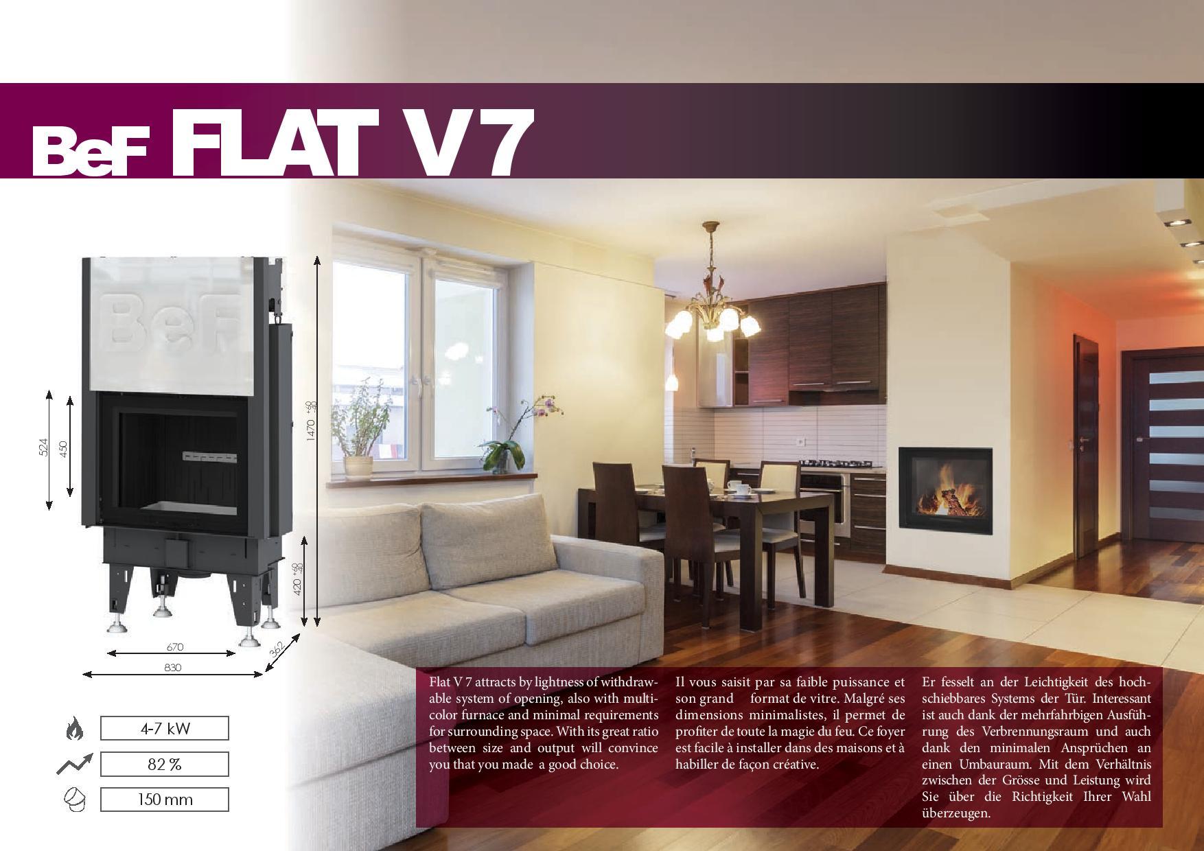 Foyers à bois FLAT BeF HOME 7 kw vitre relevable