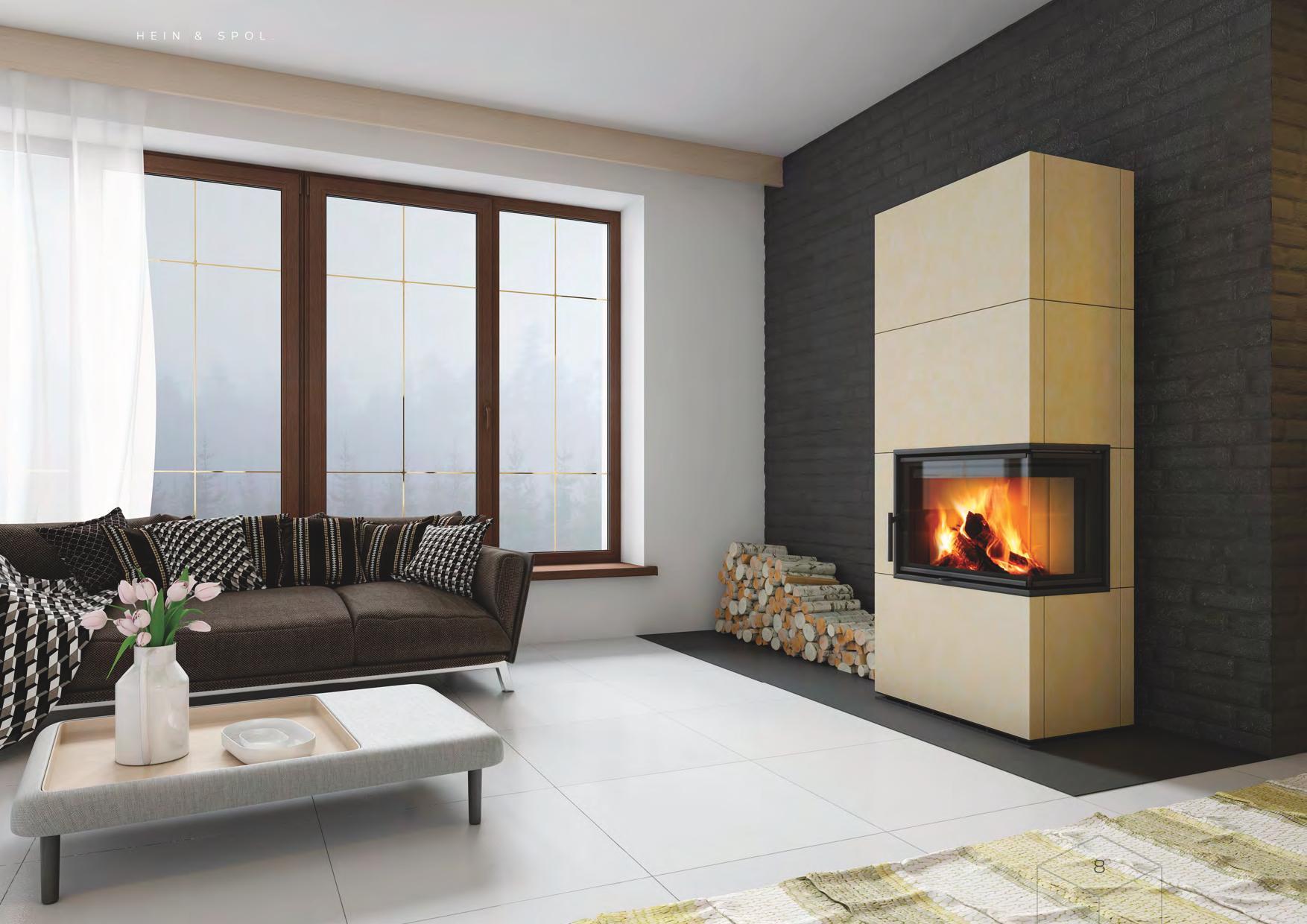 Foyers à bois d'exception HEIN SOLID vitre d'angle